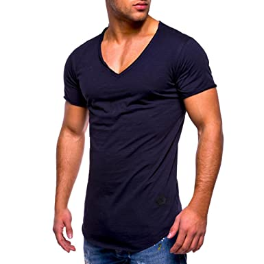 1de6c7e8 Bestoppen Men's T Shirts, Men Summer Short Sleeve V Neck Tee Shirt Tops  Casual Solid Color Slim Fit Tee Shirts Blouse Plus Size Sports Gym Muscle  Polo Tank ...