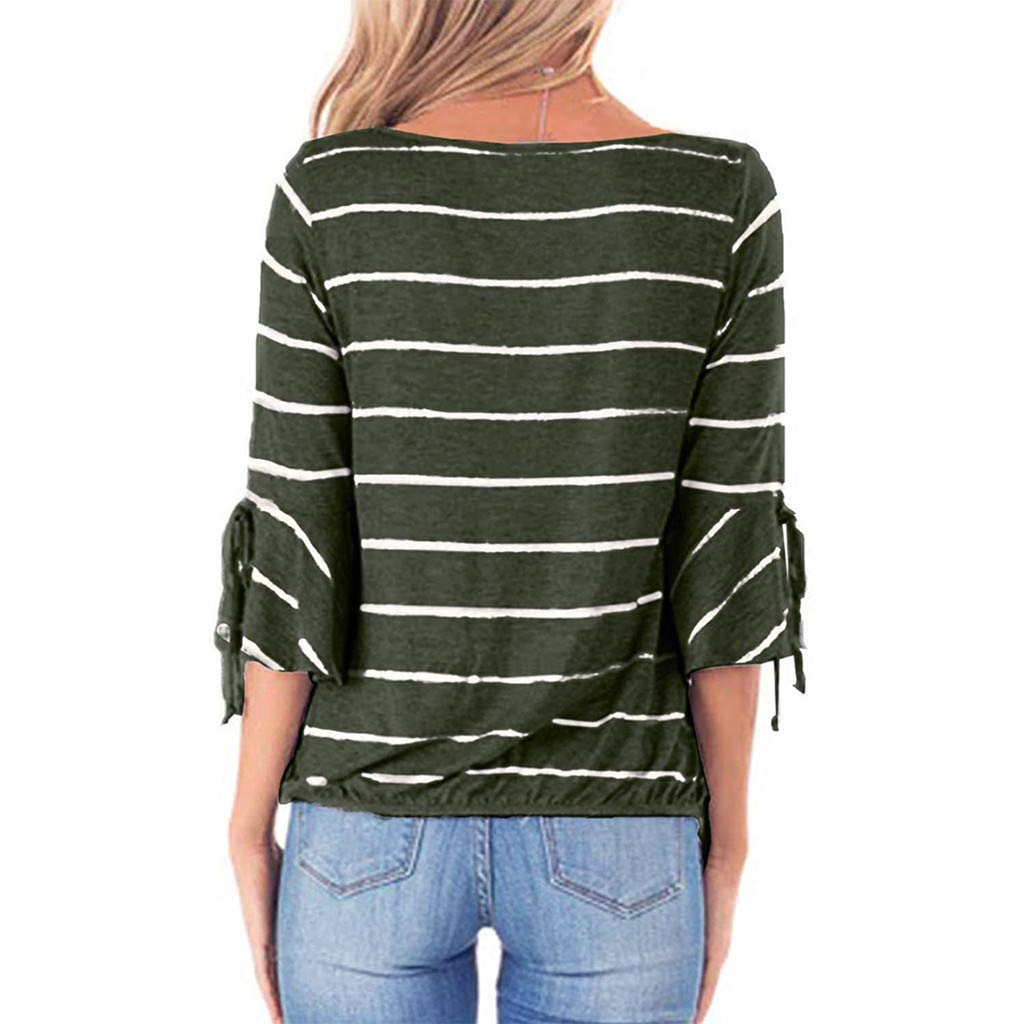 LONGDAY Women Casual T-Shirt Wrap V-Neck Flare Sleeve Shirt Summer Loose Blouse Striped Top Tunic Ladies Pullover Basic Green by LONGDAY-Women Tops (Image #2)