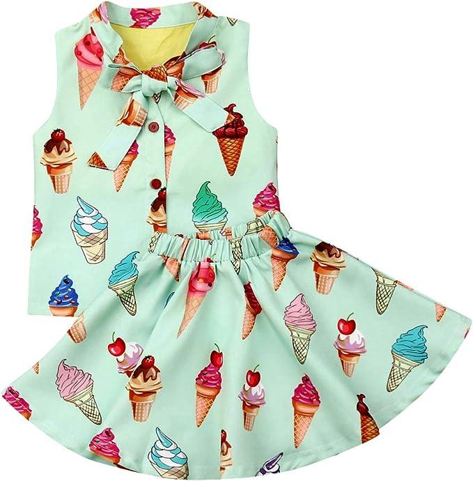 Vestido de Helado para niña, Camiseta sin Mangas + Falda de ...
