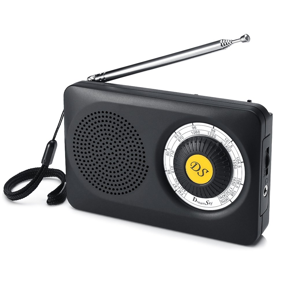 DreamSky AM FM Portable Radio with Loudspeaker and Headphone Jack, Superior Reception Radios for Emergency, Camping, Battery Operated. (Black+Yellow)