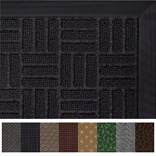 Rain Rug Black (Gorilla Grip Original Durable Rubber Door Mat (29 x 17) Heavy Duty Doormat, Indoor Outdoor, Waterproof, Easy Clean, Low-Profile Mats for Entry, Garage, Patio, High Traffic Areas (Black Maze))
