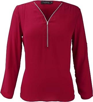 Luxspire Camiseta Blusa para Mujer de Manga Larga con V-Cuello con Cremallera, Vino, XXL: Amazon.es: Deportes y aire libre