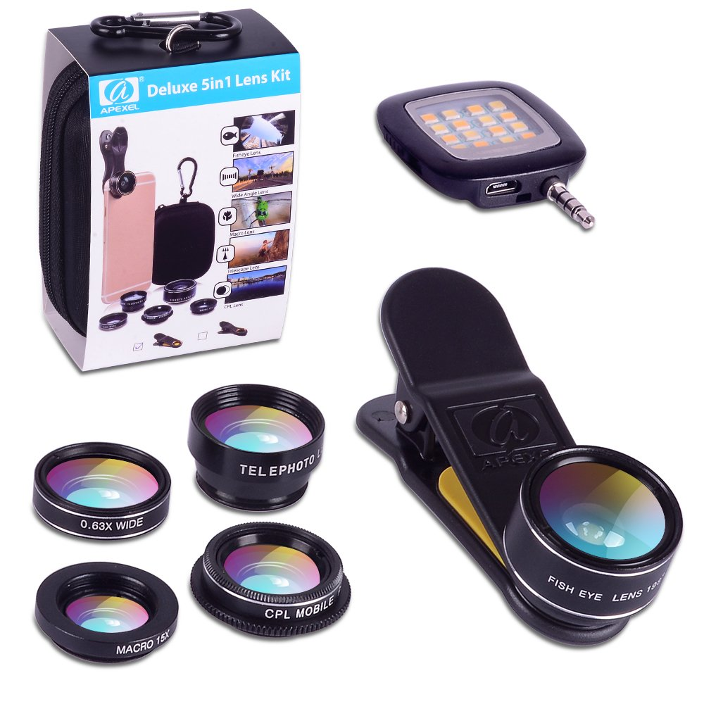 Apexel 6 in 1 Camera Lens Kit for iPhone 8/7/7 Plus/6s 6Plus, Samsung Galaxy S8/S7/S7 Edge Note 5-Fisheye Lens, 2 in 1 Wide Angle Macro Lens, 2x Telephoto Lens and CPL Lens with LED Fill Light by Apexel