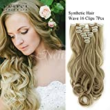 """Neitsi 22"""" 7pcs 140g Curly Wave Synthetic Clips in on Hair Extensions Full Head Set HairPieces 14Colors avaliable (P18/22#)"""