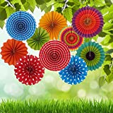 Wisehands Fiesta Colorful Paper Fans Set- Fans Round Wheel Pattern Design for Birthday, Events, Home Decoration