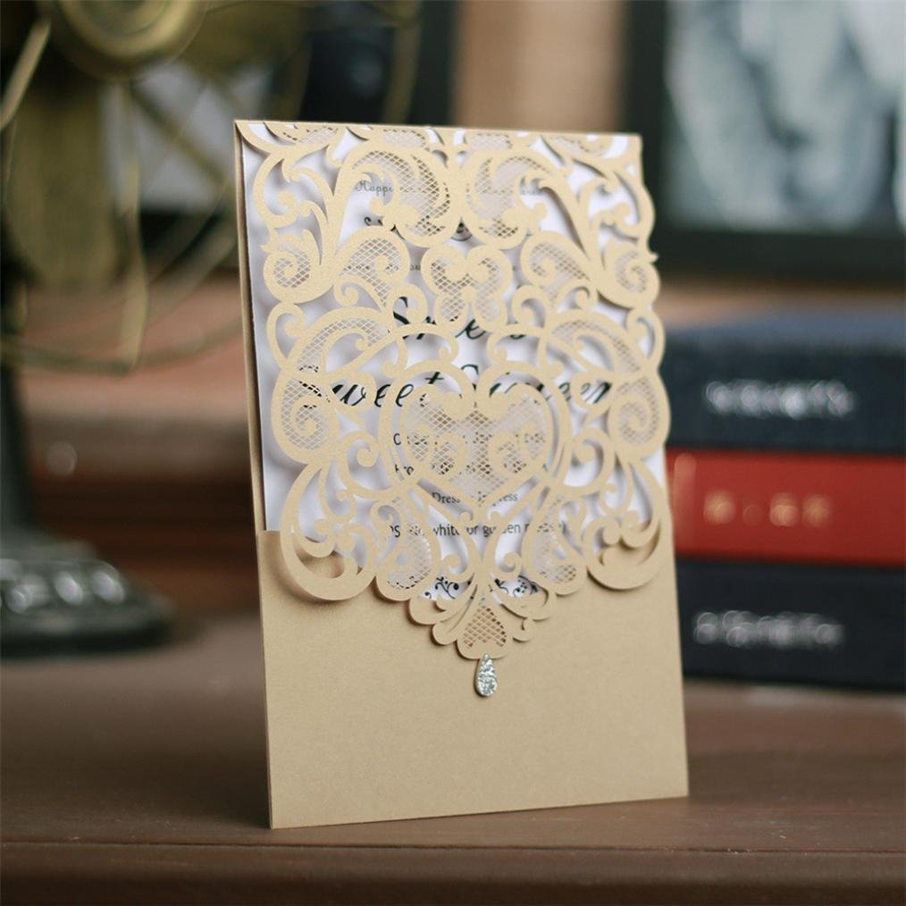 Highpot 10Pcs Wedding Invitations Cards Laser Cut Wedding ...