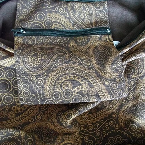 Hippy (tamaño mediano) cachemir mujer Hippie Festival playa bolsa bolso boho algodón marrón