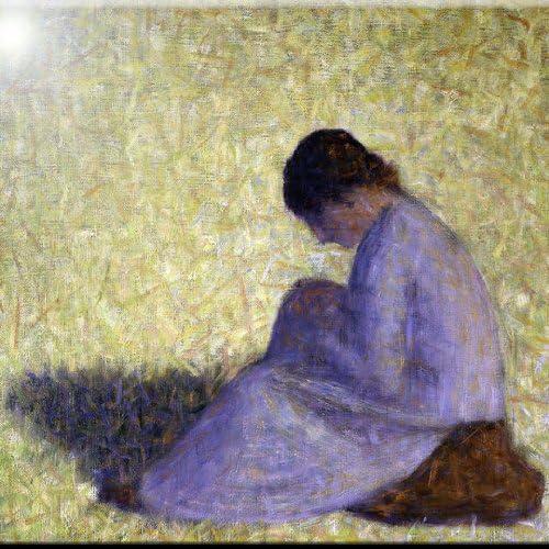 Rikki Knight 8 x 8 Georges-Pierre Seurat Peasant Woman Seated Grass Design Ceramic Art Tile