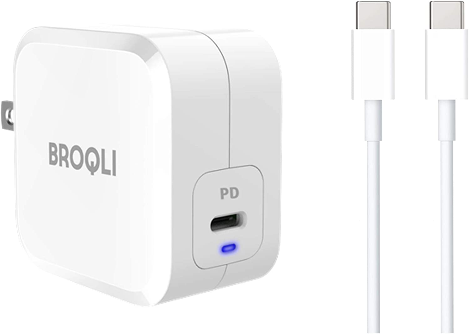 BROQLI 61W Pebble GaN Tech USB Type C Port Foldable Compact Fast Wall Charger for Laptops, MacBook Pro/Air iPad Pro, iPhone Xs Max/XR/X, Galaxy with 6.7ft Fast Charging Cable [20V-5A/100W] (White)