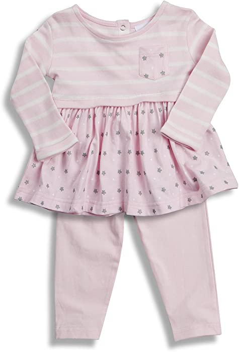 NEW Pretty Baby Girls cotton Frill Tunic /& Leggins set in Pink /& White 6m