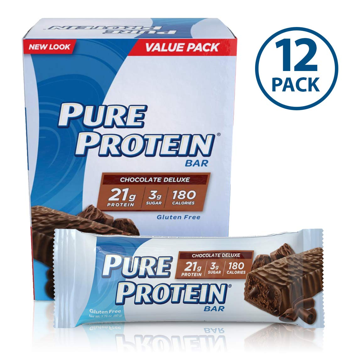 Pure Protein Bars, High Protein, Nutritious Snacks to Support Energy, Low Sugar, Gluten Free, Chocolate Deluxe, 1.76oz, 12 Pack by Pure Protein