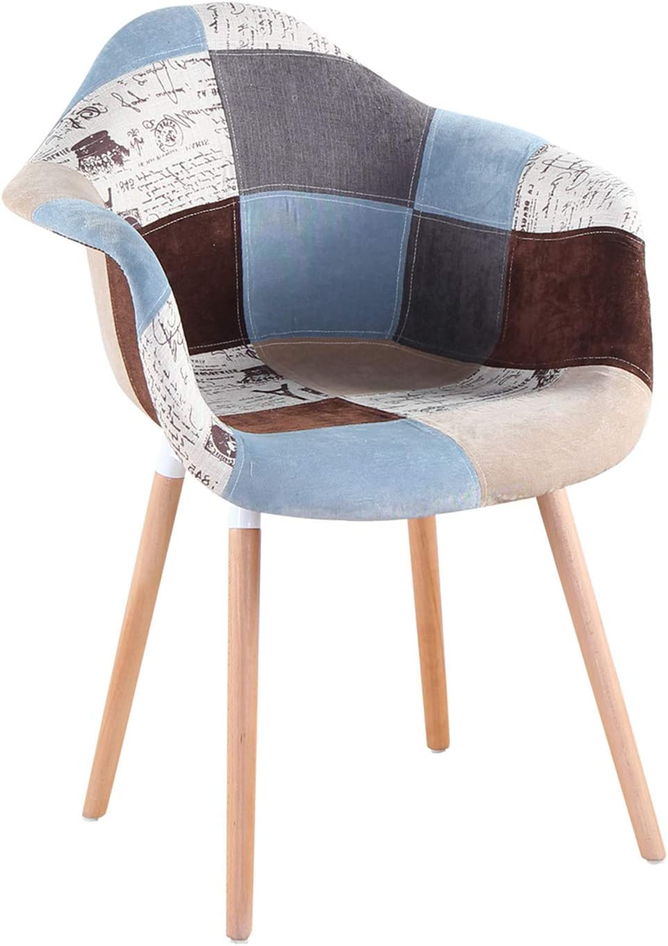 ArtDesign FR Set di 2 Poltrone Patchwork Multicolore Tessuto in Lino Tempo Libero Sedie ad Angolo Sedie per Reception con Schienale Cuscino Morbido Grigio