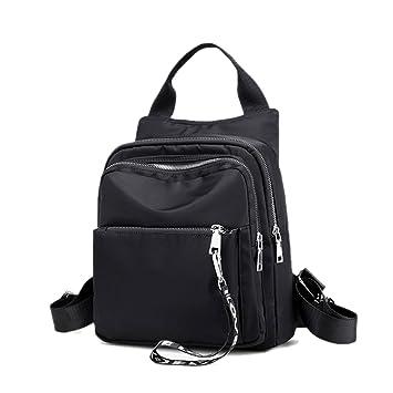 a038319140 Amazon.com  Artwell Women Backpack Purse Nylon Shoulder Bag Square Rucksack  Multi Pockets Bag (Black)