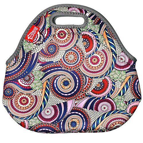 Neoprene Lunch Tote Bags, Yookeehome Thick Insulated Thermal Cooler Lunch Bags Portable Outdoor Work Travel Picnic Lunch Handbags Tote with Zipper, Classic Paisley
