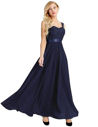 ca02bea5e IEFIEL Vestido Largo Mujer Fiesta Boda Dama de Honor Elegante Vestido de  Gasa con Lentejuelas para Chica Mujer  Amazon.es  Ropa y accesorios