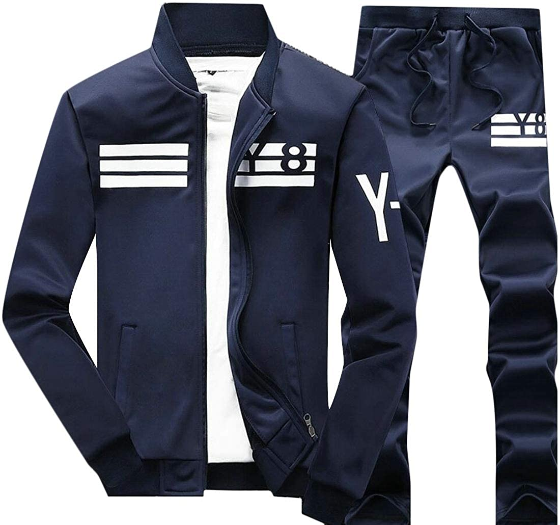 Jmwss QD Mens Casual Long Sleeve Pant Sport Sweat Suit Set with Full Zip