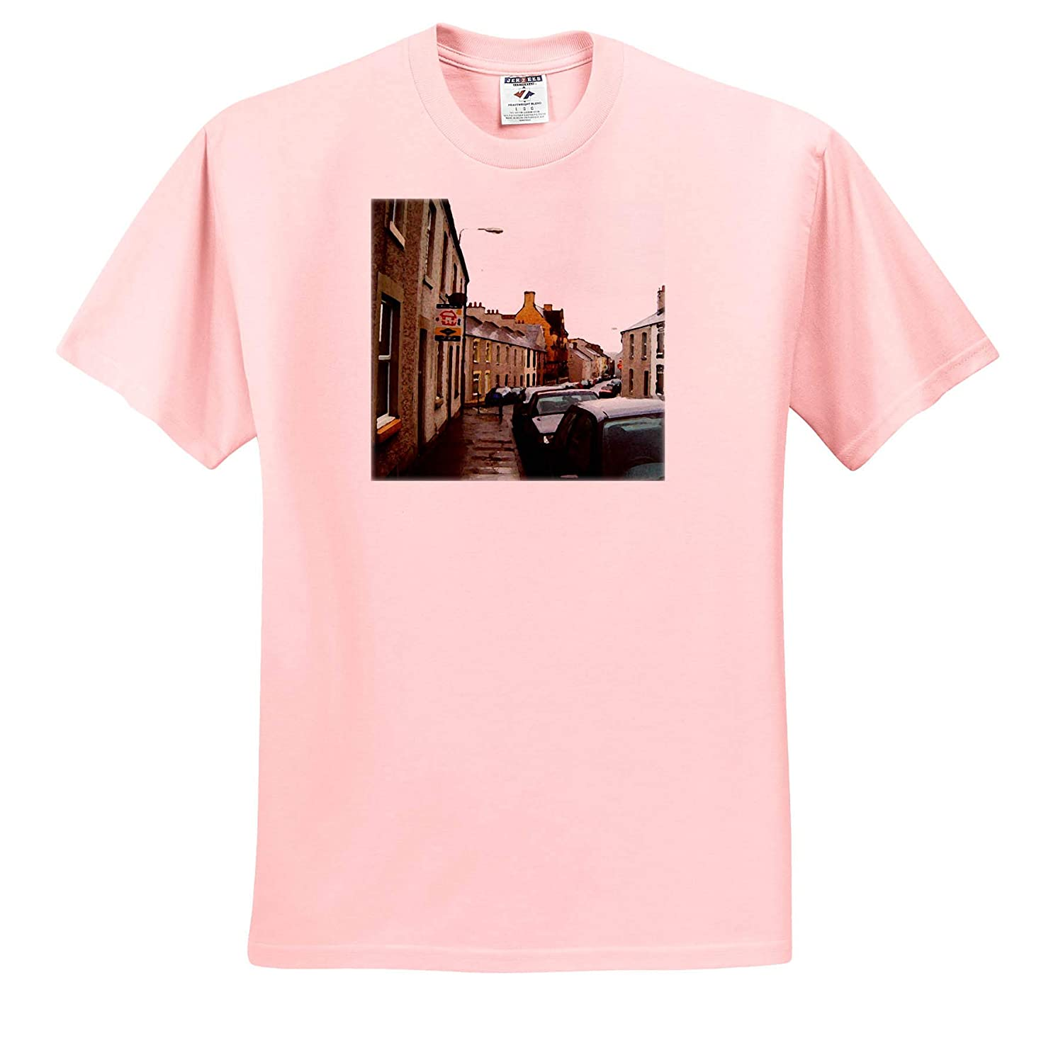 A Row of Homes in Wales with Vehicles Lining The Street 3dRose Jos Fauxtographee- Wales Adult T-Shirt XL ts/_320083