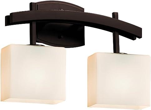 Dark Bronze Justice Design Group Lighting FSN-8592-55-OPAL-DBRZ-LED2-1400 Archway 2 Rectangle Shade LED Light Bath Bar