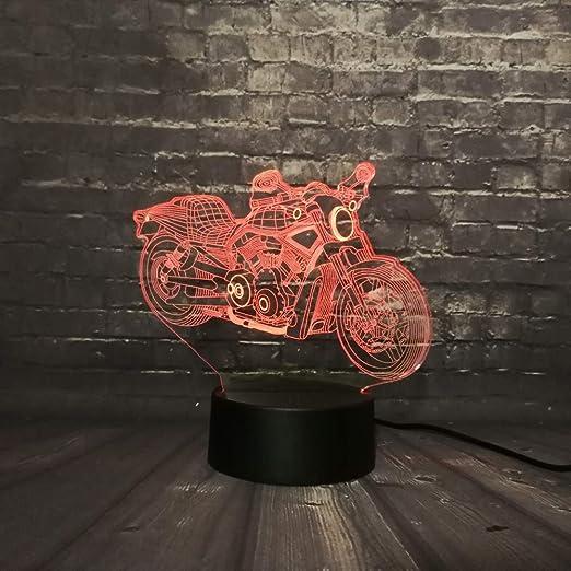 wangZJ 3D LED Luz nocturna Motocicleta fresca Hombre Mesa de ...