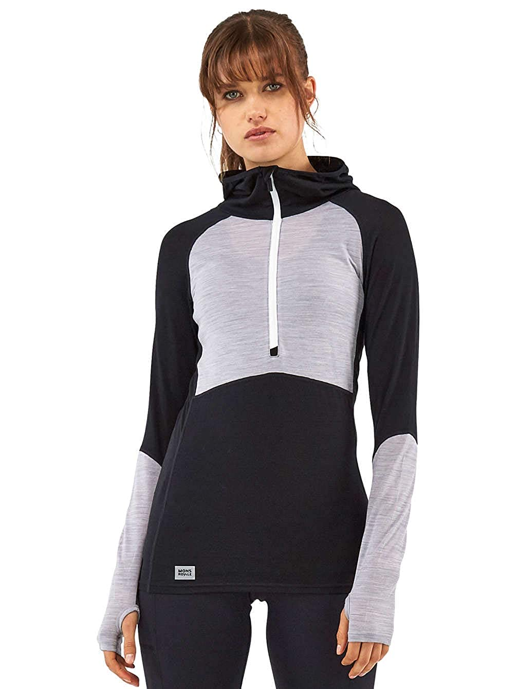 AW18 Mons Royale Bella Tech Womens Half Zip Hooded Top