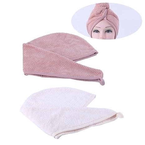frcolor pelo Secar Toallas de mano, turbante mikrofasertrockner baño Toallas de mano, 2 unidades
