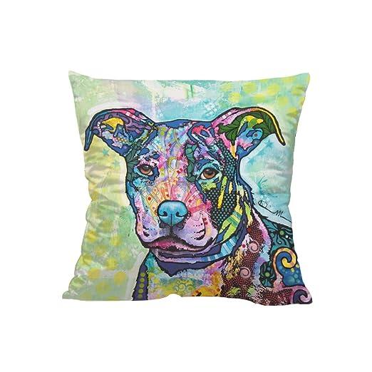 LAMEIDA Funda de cojín Almohada Decorativa con Animales Perro Funda Almohada de Lino Size 45×45cm (Perro Color)
