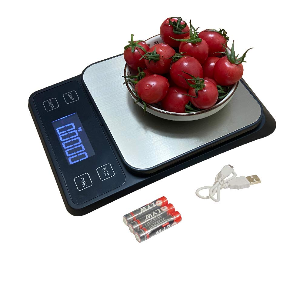 Kinsafe Digital Food Scale, 5000g/0.1g Kitchen Scale with 0.1g/0.05oz Precise Graduation, 7 Units LCD Display Scale for Cooking/Baking in g, oz, lb, Water ml, Milk ml., tl, kg,Easy Clean Black