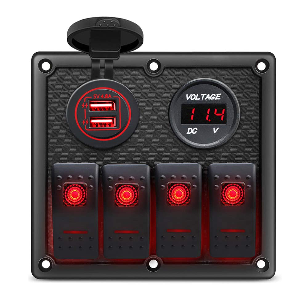Gerguirry 3/4 / 6 Gang Waterproof Marine Boat Rocker Switch Panel with Blue/Red LED Backlight for Car SUV Marine RV Truck Camper Boat (4 Gang Switch Panel, Dual USB Slot Socket + Voltmeter RED)