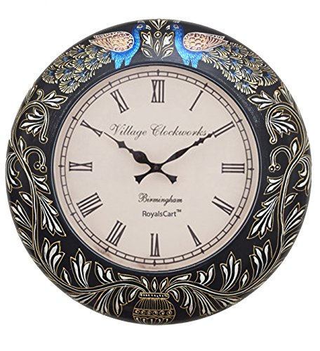 RoyalsCart Peacock Painting Wood Analog Wall Clock (45 cm x 3 cm x 45 cm)