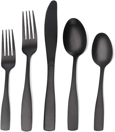 Amazon Com Matte Black Silverware Set 20 Piece Stainless Steel Flatware Set Tableware Cutlery Set Service For 4 Utensils For Kitchens Dishwasher Safe Flatware Sets