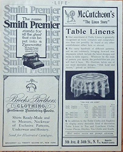 Smith Premier Typewriter, Brooks Brothers Clothing, McCutcheon's Linens. Print ads. rare 1908 B&W Illustration, original 1908 Life Magazine Art