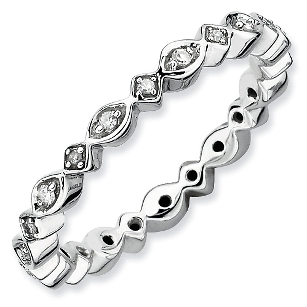 2.75mm Sterling Silver Stackable Expressions Diamond Eternity Ring - Size 10