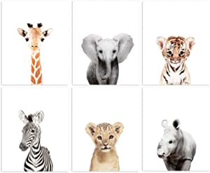"Set of 6 Baby Animal Nursery Prints 8""x10"" (UNFRAMED) (6 Safari Prints)"