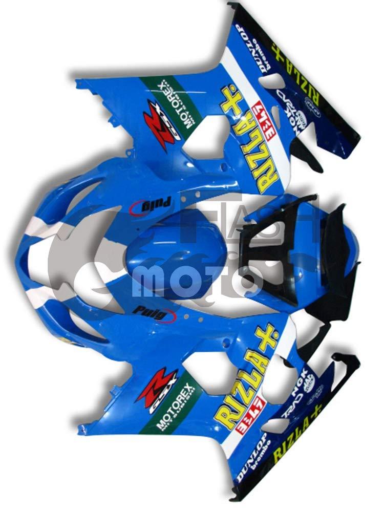 FlashMoto suzuki 鈴木 スズキ GSX-R600 GSX-R750 K4 2004 2005用フェアリング 塗装済 オートバイ用射出成型ABS樹脂ボディワークのフェアリングキットセット (ブルー,ブラック)   B07MNG7V3P