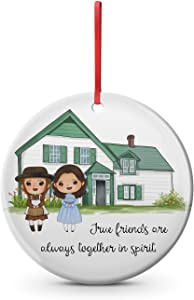 DKISEE Friends Custom Ceramic Christmas Ornament Inspired by Anne of Avonlea. Family, Best Friend, Green Gables, PEI, Lucy Maud Montgomery 3 inches