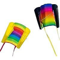 CIM Vlieger voor kinderen - Beach Kite [ 2 stuk Rainbow / Prism ] - Dimense: 70cm x 47cm - Eenlijner - inclusief…