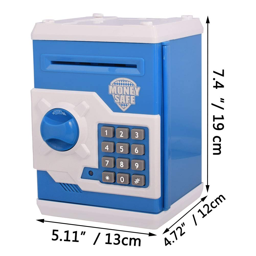 FEENM Electronic Piggy Banks Updated Code Electronic Mini ATM Coin Bank Coin Box for Kids with Electronic Lock /& Secret Code to Unlock with Password Great Gift Toy for Children Kids