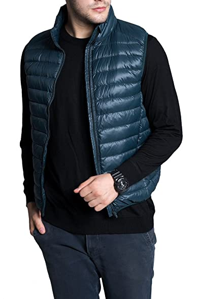 Men's Lightweight Packable Sleeveless Down Puffer Coat Fall and Winter Vests  Blackish Green US X-