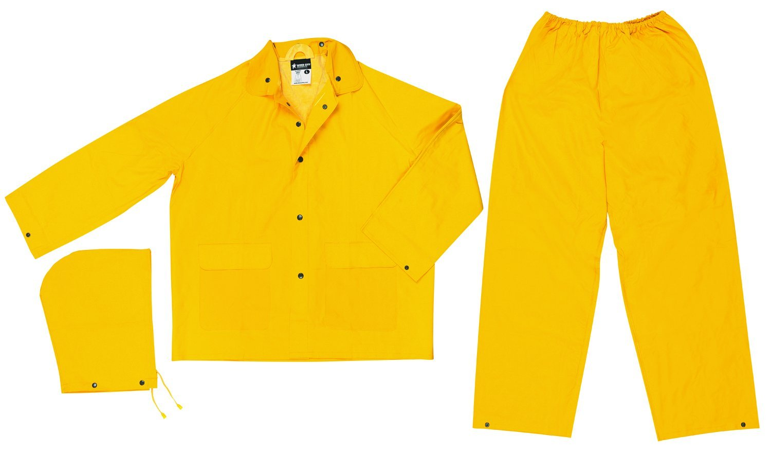 MCR Safety 2903L Classic PVC/Polyester 3-Piece Rainsuit with Elastic Waist Pants, Yellow, Large