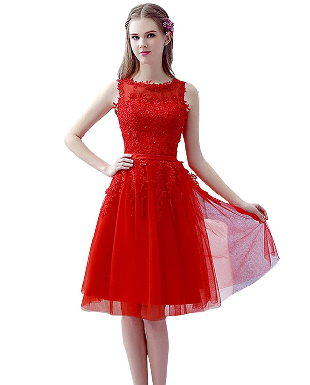 Vimans? Girl's Short Red Lace Sleeveless Bridal Wedding Dress for Reception