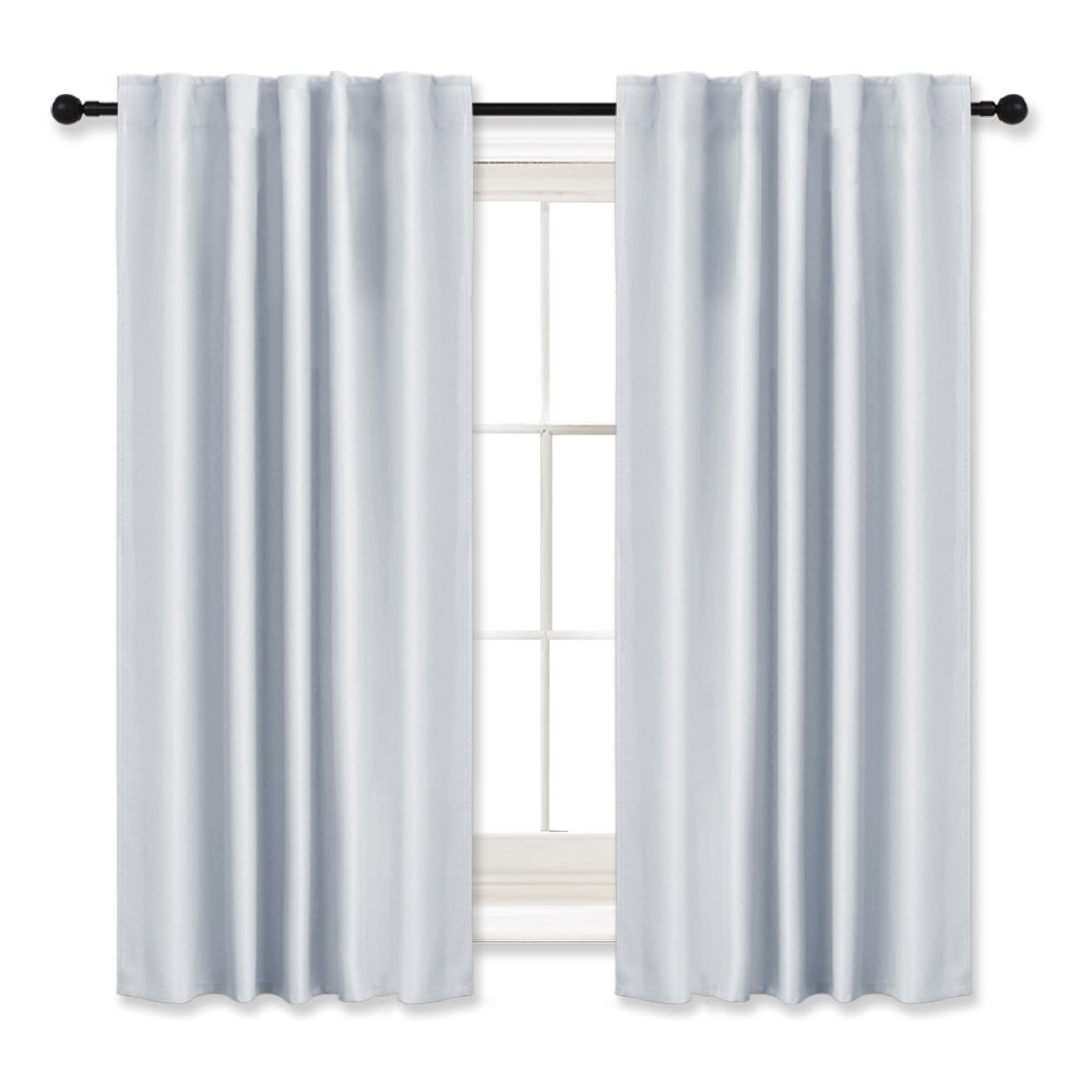 RYB HOME Curtains Drapes Thermal Insulated Panels (42'' x 45'', Grayish White, Double Pieces) Back Tab & Rod Pocket Used with Curtain Rod/Hooks Blackout Curtains for Living Room Window Dressing