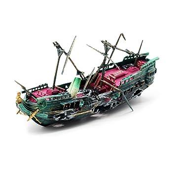 Acuario Naufragio Decoración Cian Fish Tank Broken Barco Flotante Del Ornamento Del Naufragio Hundido Barco De
