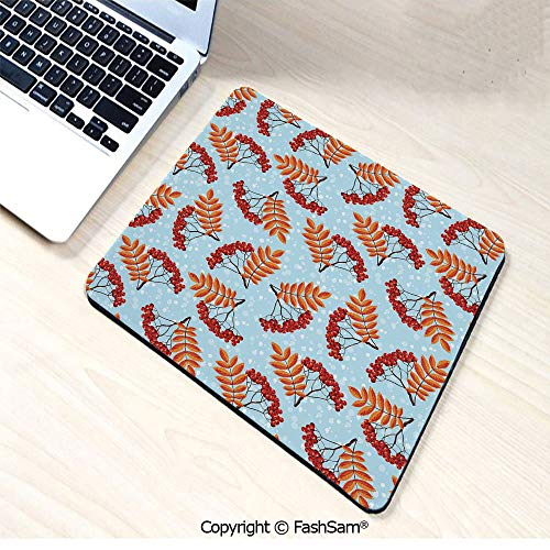 Personalized 3D Mouse Pad Abstract Backdrop with Dried Leaf and Bunch of Vivid Berries Mountain Ash Decorative for Laptop Desktop(W9.85xL11.8)