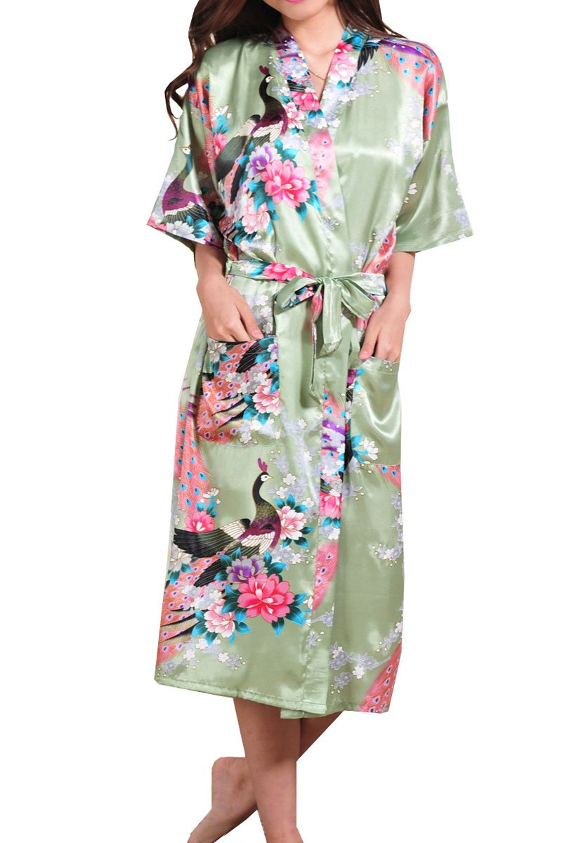 Ancia Women Kimono Long Robe Satin Printed Nightwear Bridesmaid Bathrobe Sleepwear