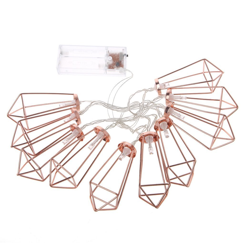 5 FT 10 LED String Lights with Rose Gold Metal Geometric Cage Battery Operated Boho Fairy Boho Lights for Home Room Patio Bedroom Garden Wedding Party Indoor Window Wall Decoration (Warm white)
