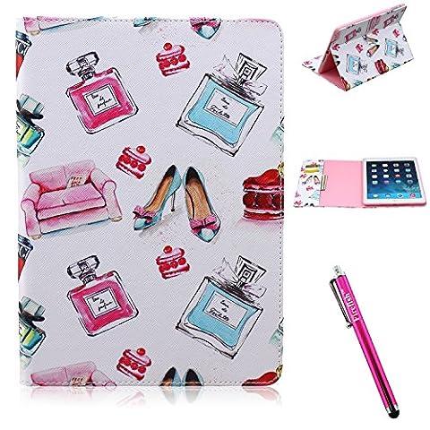 iPad Air Case, Firefish iPad Case [Kickstand] [Bumper] PU Leather Protective Skin Anti-Slip Lightweight [Card Slots] Case for Apple iPad Air - Bottle (Ipad Air 2 Cover Tiger)