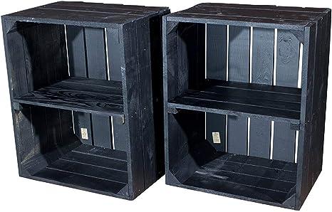 Vinterior Negra Juego de 3 estantes Caja Horizontal – Fruta (/Madera Caja con 2 Compartimentos como Zapatero o Estante en Negro 50 x 40 x 30 cm: Amazon.es: Juguetes y juegos