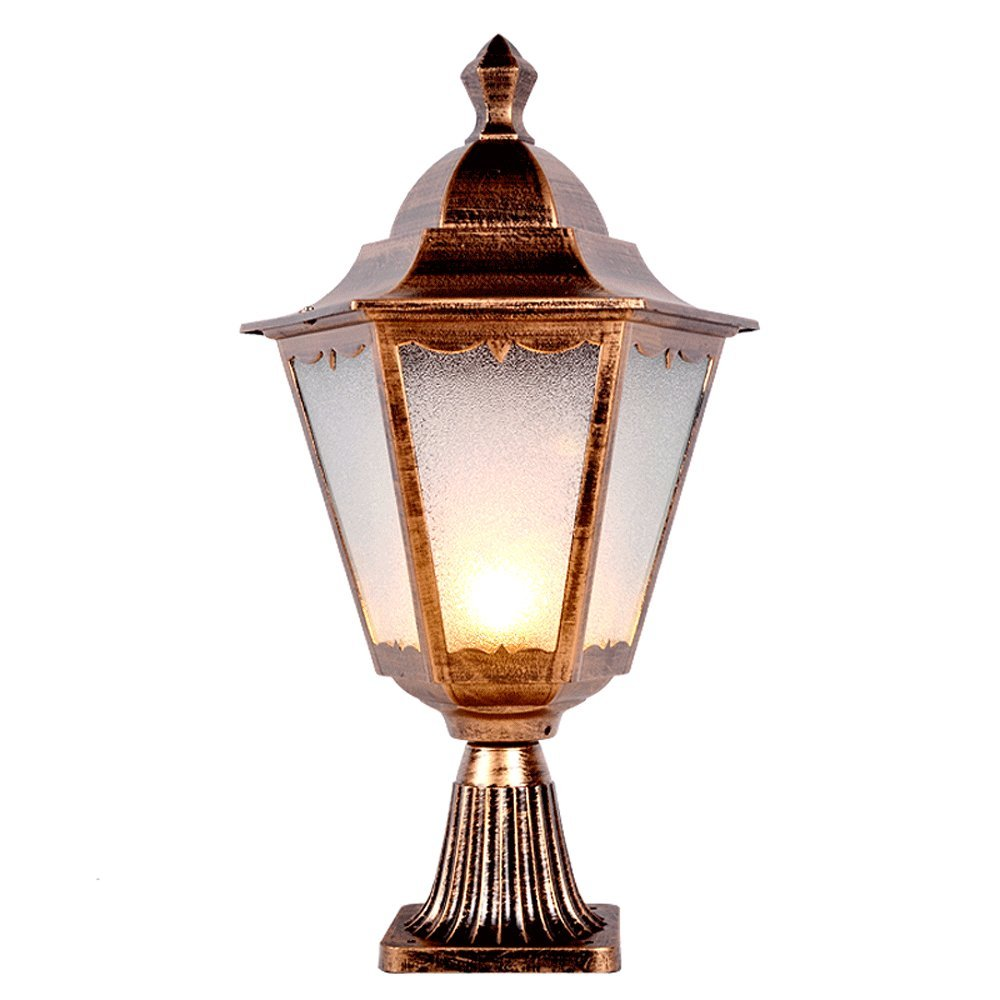Modeen European Antique Retro Glass Column Lamp Victoria Lantern Aluminum Outdoor Waterproof Table Lamp Lawn Lamp Street Post Light E27 Decoration Illumination for Villa Garden