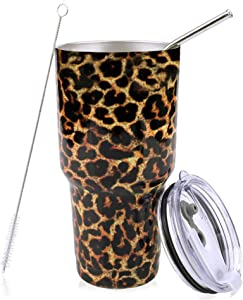 PUTING Stainless Steel Double Wall Vacuum Insulated Tumbler 30 oz For Home, Office, School, Travelling Gift Set (Leopard)