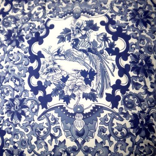 (RALPH LAUREN Porcelain Blue TAMARIND Birds Toile 3pc FULL/QUEEN DUVET COVER SET)